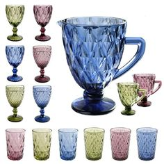 Colored Glass Pitcher Drinkware 50oz for Water Cocktail Wine Beer, Blue - Walmart.com Blue And White Dinnerware, Water Glass, Kitchen Canisters, Glass Pitchers, Wine And Beer, Diamond Pattern, Drinkware, Colored Glass, Contemporary Design
