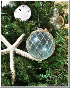 Glass Float Ornaments and starfish. I've pinned this once or twice before, but I love it.