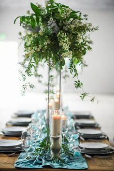 La Tavola Fine Linen Rental: Velvet Jade Table Runner with Tuscany Natural Napkins | Photography: Kate Noelle Photography, Event Design: XOXO Weddings, Floral Design: Milieu Florals, Venue and Rentals: The Garage Burbank, Glassware, Chairs, & Silverware: Signature Party, Charger Plates: Soiree8