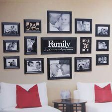 Black 15 pieces FAMILY Multi Picture Frame Photo Frame Wall Set Collage Photos rnrnSource by kbcardcreations Multi Picture Photo Frames, Family Picture Collages, Family Pictures On Wall, Picture Wall, Family Wall Collage, Collage Picture Frames, Photo Collage On Wall, Family Photo Walls, Photo Collages
