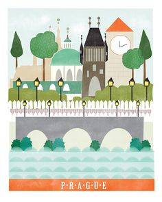 Prague art print illustration city art by confettielove