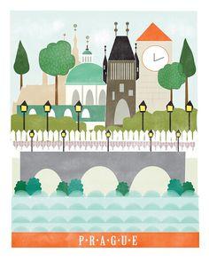 Prague art print illustration city art by confettielove