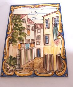 Vintage Hand Painted Azupal Portugese Tiles  Mural Signed tile picture on Etsy, $89.00