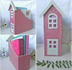 It looks like a simple house but it is a beautiful organizer 🤗 craftsideas crafts Cardboard Crafts, Paper Crafts, Diy For Kids, Crafts For Kids, Do It Yourself Decorating, Sewing Projects For Kids, Baby Kind, Diy Box, Craft Storage