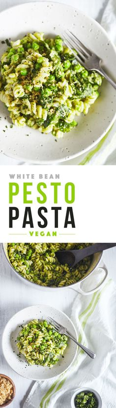 A delicious vegan pasta featuring a creamy white bean pesto sauce. White beans make the sauce extra creamy and are a great source of added protein. Top with homemade brazil nut parmesan. #veganRecipe
