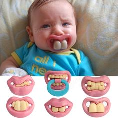 Fashion Funny Baby Dummy Dummies Pacifier Prank Novelty Teeth Child Lip Soother