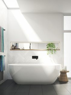 Tired of your small, dark and uninspiring bathroom? Well, there's no better time to give your small bathroom a fresh look. Small bathroom design is finally stepping out of the cookie… Continue Reading → Small Bathroom Tiles, Laundry In Bathroom, Bathroom Renos, Bathroom Interior, Bathroom Ideas, Neutral Bathroom, Shower Bathroom, The Block Bathroom, Skylight Bathroom