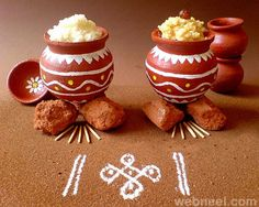 Pongal Festival - A guide to Pongal Festival celebrated in Tamil Nadu. Includes the customs and traditions about the festival. Includes Pongal Festival Recipes too. Diy Diwali Decorations, Festival Decorations, Pongal Greeting Cards, Sankranthi Festival, Thai Pongal, Pongal Celebration, Janmashtami Decoration, Happy Pongal, Pottery Painting Designs