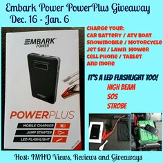 Enter the Embark Power PowerPlus Giveaway for a chance to win this 3-in-1 device that is the best battery starter. Enter all of my giveaways on my blog!