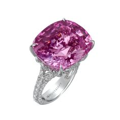 Moussaieff High Jewellery- Natural Pink Sri Lanka Sapphire and Diamond Pavé Ring.