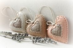 Set of 3 Felt Heart Ornaments Home decor Favors by HandmadeByHelga
