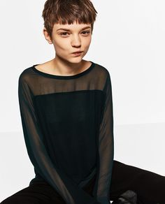 ZARA - WOMAN - CONTRAST SHEER T-SHIRT