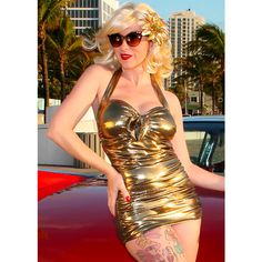 Golden Girl Plus Size Sunset Boulevard Retro Halter One Piece Swim... ❤ liked on Polyvore featuring swimwear, one-piece swimsuits, ruched one piece swimsuit, halter one piece bathing suit, one-piece swimwear, plus size one piece swimsuits and plus size one piece bathing suits