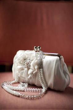 vintage wedding purse with pearl handles