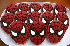 Spiderman decorated cookies to be used a favors at a birthday party… Spiderman Cookies, Superhero Cookies, Superhero Party, Spiderman Birthday Cake, Birthday Favors, 4th Birthday Parties, Mom Birthday, Birthday Party Decorations, Birthday Ideas