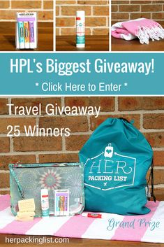 Our Biggest Giveaway Yet: 25 Prizes, 25 Winners! - Her Packing List Her Packing List, Packing For Europe, Packing Tips, Travel Packing, Solo Travel, Travel Tips, Road Trip Essentials, Road Trip Hacks, Road Trips