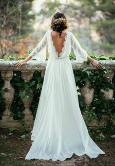 Long Sleeve Backless Bohemian Wedding Dresses 2017 Summer Court Train Ruched Chiffon Plus Size Beach Bridal Gowns-in Wedding Dresses from Weddings & Events on Aliexpress.com | Alibaba Group