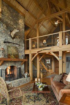 Red oak timber frame great room inspiring-timber-frame-interiors