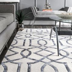 """Frostley Hand-Tufted Silver / Off-White Area Rug Rug Size: Rectangle """"x – Area Rugs in living room White Rug, White Area Rug, Contemporary Rugs, Modern Rugs, Contemporary Classic, Living Room Carpet, Rugs In Living Room, Colorful Decor, Colorful Rugs"""