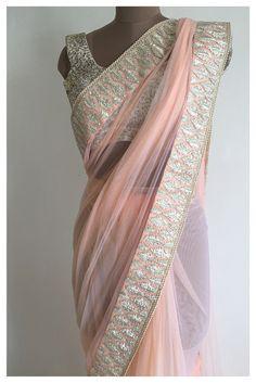 The Adah Sari Soft net peach sari with gota and pearld borders. This sari comes with a satin petticoat.  This sari does not come with blouse.   #thepeachproject #saristyle #saridesign #sari #bridesmaids #bridaltrousseau #peach #gotapatti #pearls