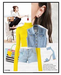 """Yellow Denim"" by rositafgk ❤ liked on Polyvore featuring Forever 21, rag & bone, Ballin, Jacquemus, Chicnova Fashion, Gianvito Rossi and yellowdenim"
