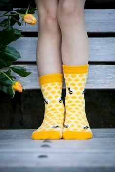 Because your kids are scared of the real thing, these colorful bee socks may be the closest they ever get to a hive. Cute Socks, My Socks, Happy Socks, Flower Yellow, Looks Style, My Style, Connie Springer, Crazy Socks, Funky Socks