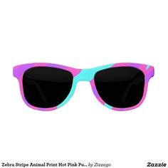 Zebra Stripe Animal Print Hot Pink Purple Teal Sunglasses