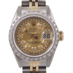 Pre-owned Rolex Datejust Stainless Steel & 18K Yellow Gold Champagne... (24.525 DKK) ❤ liked on Polyvore featuring jewelry, watches, gold wristwatch, rolex wrist watch, rolex watches, 18k watches and 18k gold watches