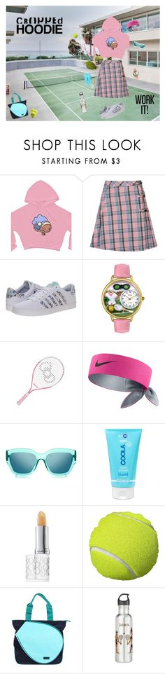"""""""Tennis Style"""" by vntgdrms ❤ liked on Polyvore featuring Topshop, K-Swiss, Whimsical Watches, Hello Kitty, NIKE, Le Specs, COOLA Suncare, Elizabeth Arden, Hadaki and CroppedHoodie"""