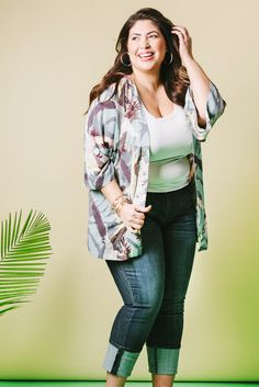 Take your kimono from street to beach, and layer it over a swimsuit. #plussizefashion