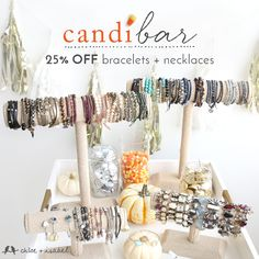 Ready for a sweet treat? How about our #candi bar — 25% OFF bracelets + necklaces for Fall. BONUS: it's calorie + cavity free. Shop my boutique now!  Get some Holiday shopping checked off your list!
