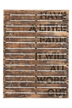 Weathered wood wall decor with a typographic design.Product: Wall décor Construction Material: WoodColor: Natural Dimensions: H x W Note: Not recommended for outdoor useCleaning and Care: Wipe with dry cloth Wooden Wall Plaques, Wood Wall Decor, Wood Wall Art, Wall Décor, Rustic Vintage Decor, Vintage Crates, Vintage Art, Construction, Weathered Wood