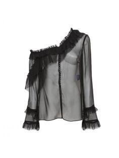 Magda Butrym One Shoulder Ruffle Long Sleeve Blouse In Black Magda Butrym, One Shoulder Tops, Hemline, Awards, Ballet Skirt, Silk, Blouse, Long Sleeve, Skirts