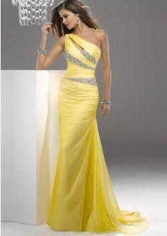 Sheath Chiffon One-shoulder Neckline Sleeveless Floor-length Daffodil Prom Dresses AU With Crystals