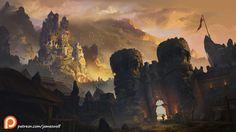 Before the castle walls, James Strehle on ArtStation at https://www.artstation.com/artwork/koKJ6