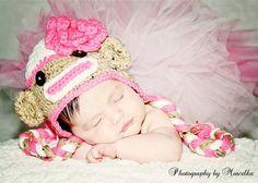 Hey, I found this really awesome Etsy listing at https://www.etsy.com/listing/191819854/baby-girls-sock-monkey-hat-size-newborn