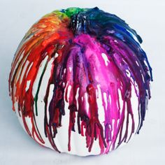 Start your Halloween decorating off with a bang with this colorful crayon drip pumpkin!