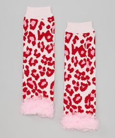 Look what I found on #zulily! Just For Girls Pink & Red Leopard Ruffle-Trim Leg Warmers by Just For Girls #zulilyfinds