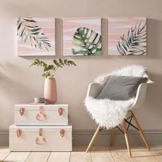 'Luscious Leaves' 3 Piece Graphic Art Print Set on Wrapped Canvas