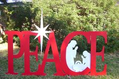 Holiday Peace with Nativity is 33 tall X 72 long and was made for client by ART DE YARD . Christmas Photo Booth, Christmas Yard Art, Christmas Yard Decorations, Christmas Nativity Scene, Christmas Wood, Christmas Signs, All Things Christmas, Christmas Crafts, Christmas Ornaments