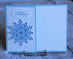 Stampin' Up! Festive Flurry snowflake gift card holder - Festive Flurry stamp set and dies; Petite Pairs stamp set; Perfect Polka Dots Textured Impressions; Marina Mist ink
