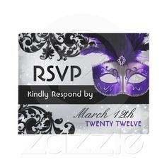 Masquerade Wedding RSVP Cards Invitation from Zazzle.com