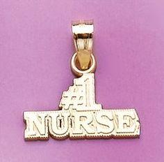 Amazon.com: 14k Gold Profession Necklace Charm Pendant, #1 Nurse Block Stacked: Million Charms: Jewelry