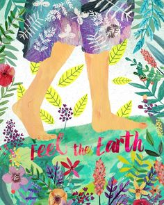 feel the earth mia charro illustration Illustration Noel, Photo D Art, Nature Quotes, Mother Nature, Art Paintings, Whimsical, Artsy, Feelings, Drawings