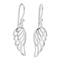925 Sterling Silver Cut Open Angel Wing Dangle Hook Earrings *** Check out the image by visiting the link.
