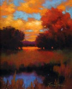 Ablaze by Teresa Saia Pastel ~ 12 x 9 This pastel Artist has just grabbed my whole heart! How did she do that? Color, composition and inspiration from Deity.