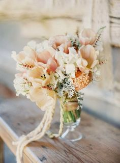 Wedding bouquet, lovely ultra soft orangey and pink pastels