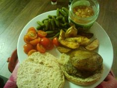 Healthy Mc Ds Lean mince chilli beef burger with mushroom, cherry tomatos, gherkins and baked beans