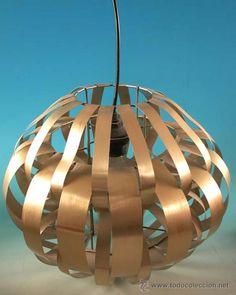 Vintage !!!!! Lampara de metal aluminio cromado. Max Sauze. Francia. 1970.(BRD)