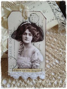 pretty tag with ribbon and lace